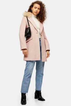 Topshop Womens Pink Faux Fur Hood Herringbone Coat - Pink