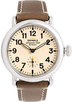 Shinola The Runwell 36mm Stainless Steel And Leather Watch - Neutral