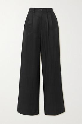Anine Bing Carla Pleated Twill Wide-leg Pants - Black
