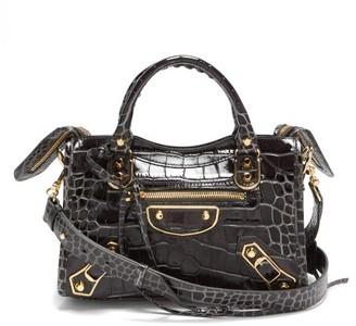 Balenciaga Classic City Mini Crocodile-effect Leather Bag - Dark Grey