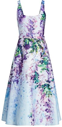 Marchesa Floral Satin Fit & Flare Dress