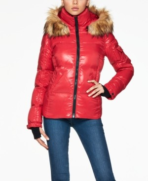 S13 Allie Faux-Fur-Trim Hooded Puffer Coat
