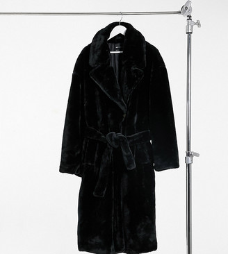 ASOS DESIGN Curve faux fur trench coat in black