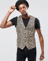 Religion Skinny Waistcoat In Leopard Print Rayon