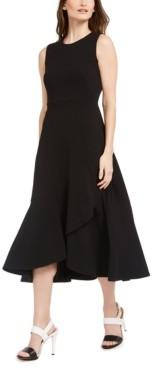 Calvin Klein Petite Ruffled High-Low Midi Dress