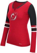 "Reebok New Jersey Devils Women's NHL Face-Off"" Tri-Blend Henley L/S Shirt"