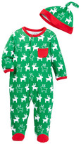 Offspring Holiday Reindeer Footie & Hat (Baby Boys)