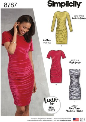 Simplicity Women's Bodycon Dresses Sewing Pattern, 8787