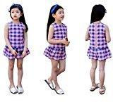Fheaven Toddler Kids Baby Girls Outfit Clothes Plaid Vest T-Shirt+Short Pants 1Set (6/7T)