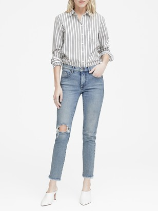 Banana Republic High-Rise Straight Ankle Jean with Fray Hem