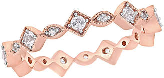 FINE JEWELRY Jcp005392 Womens Lab Created White Sapphire 10K Rose Gold Stackable Ring