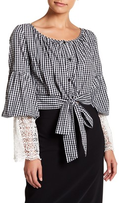 Tov Gingham Organza Puff Sleeve Blouse