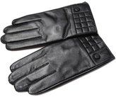 Liveinu Men's Genuine Leather Winter Gloves with Lattice Pattern and Button L