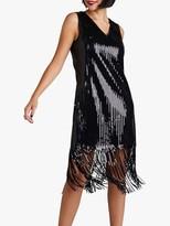Yumi Sequin Tassel Hem Shift Dress, Black