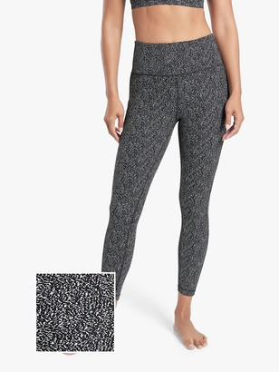 Athleta Ultimate Stash Pocket Textured 7/8 Tights, Black Static/White