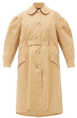 Simone Rocha Ruffled Belted Gabardine Trench Coat - Womens - Camel