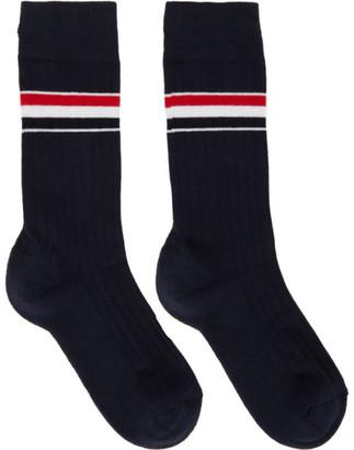 Thom Browne Navy RWB Stripe Mid-Calf Athletic Socks