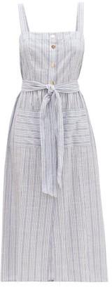 Melissa Odabash Celine Striped Cotton Midi Dress - Womens - Navy Stripe