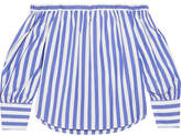 J.Crew Thomas Mason Mickey Off-the-shoulder Striped Cotton-poplin Blouse - Blue