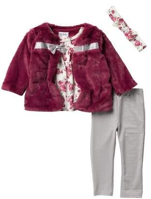 Nicole Miller Faux Fur Jacket, Floral Top, Leggings, & Headband - 4-Piece Set (Baby Girls)
