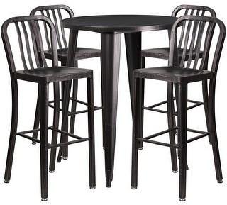 Lancaster Home 30-inch Round Black-Antique Gold Metal Indoor-Outdoor Bar Table Set with 4 Vertical Slat Back Barstools