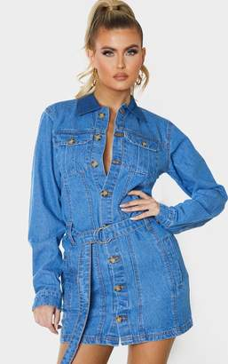 PrettyLittleThing Tall Blue Washed Belted Denim Shirt Dress