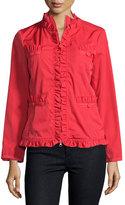 Moschino Ruffle-Trim Zip-Front Jacket, Red