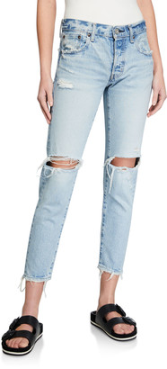 Moussy Yardley Tapered Ripped-Knee Jeans