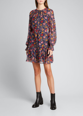 Saloni Pixie Floral-Print Short Dress
