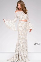 Jovani Off the Shoulder Prom Dress With Bell Sleeves 45894