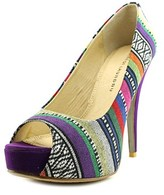 Chinese Laundry Hotness Women Open Toe Canvas Purple Platform Heel.