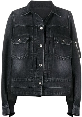 Sacai Bomber-Detail Denim Jacket
