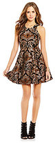 Gianni Bini Social Avaline Metallic Jacquard Fit-and-Flare Sleeveless Dress