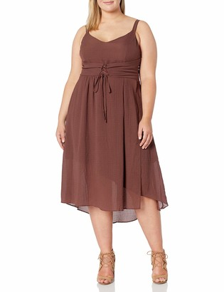City Chic Women's Apparel Women's Plus Size Midi Dress with lace Overlay