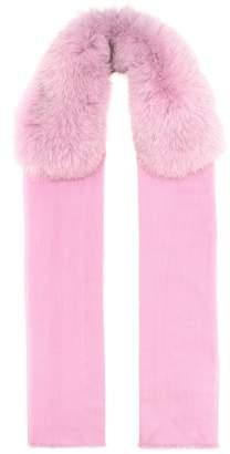 Valentino Fur-trimmed cashmere scarf