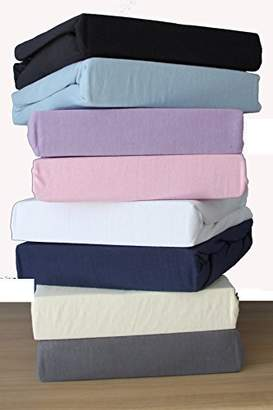 Camilla And Marc Family Bedding Cotton Thick Jersey Double Bed Fitted Sheet, 140 cm x 200 cm, Navy