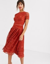 Asos Design DESIGN short sleeve prom dress in lace with circle trim details
