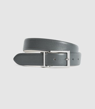 Reiss Ricky - Reversible Leather Belt in Taupe/grey