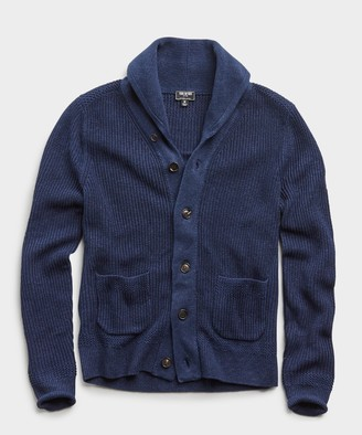Todd Snyder Italian Cotton Linen Shawl Cardigan in Navy