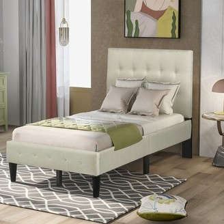 Latitude Run Chihara Twin Tufted Upholstered Low Profile Platform Bed Color: Beige