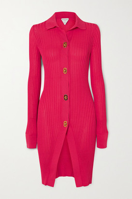 Bottega Veneta Ribbed Cotton And Silk-blend Cardigan - Pink