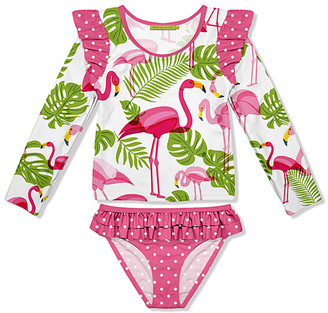 Millie Loves Lily Girls' Bikini Bottoms Tropical - White & Pink Flamingo Dot Ruffle Rashguard Set - Infant, Toddler & Girls