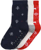 Joe Fresh Toddler Boys' 3 Pack Holiday Socks, Navy (Size 1-3)