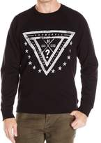 GUESS Black White Mens Size Large L Logo Fleece Crewneck Sweater