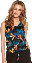M&Co Sleeveless tropical print tie front top