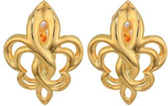 Kenneth Jay Lane Polished Gold Fleur-De-Lis Clip Earrings (Polished Gold) Earring