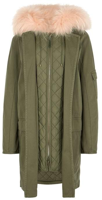 Yves Salomon Army Green Fur-lined Cotton Parka