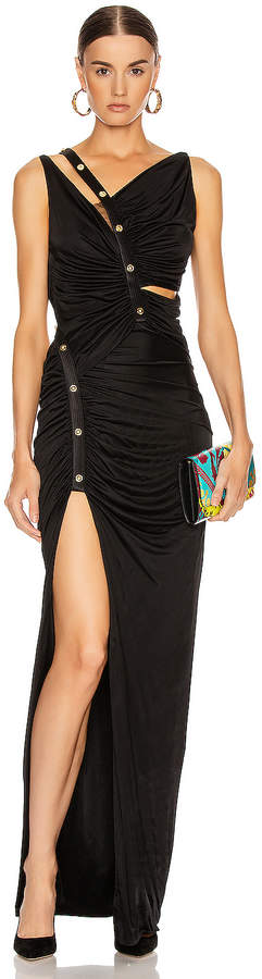 Versace Long Evening Gown in Black | FWRD