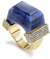 Jade Jagger Never Ending Large Sapphire and Sapphire Pave 18ct Gold Ring - Size L