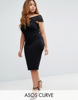 Asos Bardot Bodycon Dress with Lace Off Shoulder